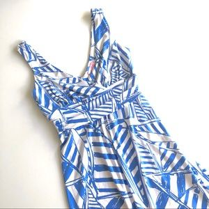 LILLY PULITZER BLUE & WHITE COTTON MIDI DRESS